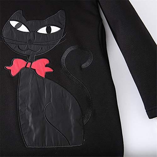 Causale Pullover Modello Outwear Da Casual Donna Abito Cappotto Ves Felpa A Lunghe Nero Maglione Vestito Con Le Cat Addensato Caldo Donne Per Cappuccio Invernale Maniche Coulisse 7PqwqxBz