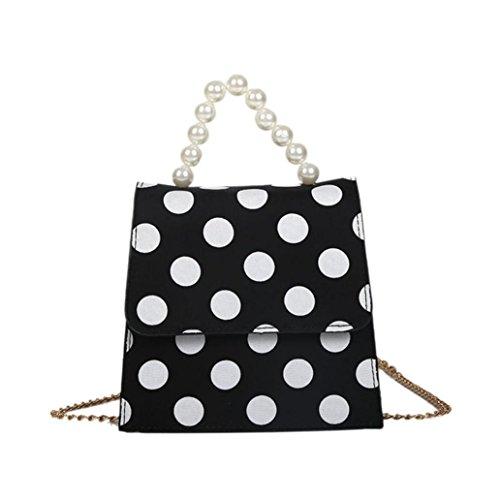 Tefamore Women Dot Printed Pearl Cover Crossbody Bag 2018 New Fashion Shoulder Bag Handbag Black