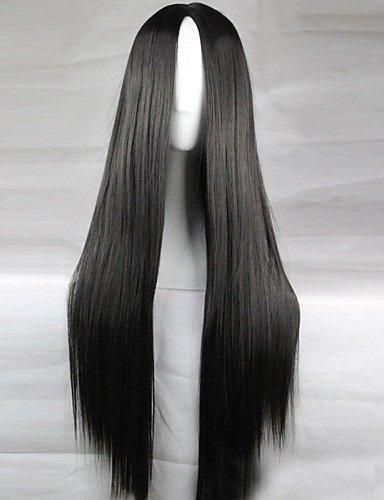 Pelucas Pelo europeo Nueva Anime Cosplay Negra Larga lisa pelo peluca 80 cm
