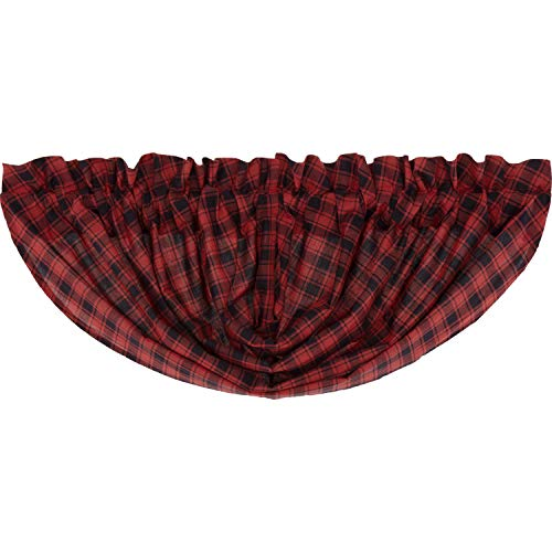 VHC Brands Rustic Kitchen Curtains Cumberland Rod Pocket Cotton Buffalo Check Balloon Valance Chili Pepper Red -