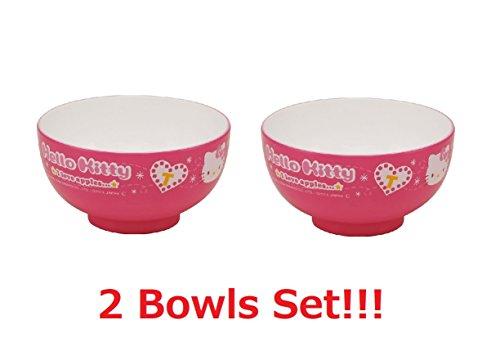 Skater [2 Bowls Set Sanrio Hello Kitty Melamin Japanese Rice Bowl Dot Check N5