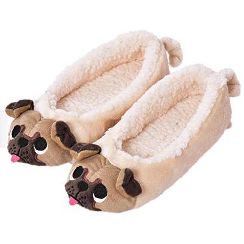 Pug Life (Women's Plush Winter Warm Animal Soft Cute Home Slippers Dog 9-10 B(M) US)