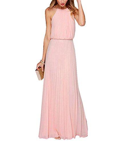 Maxikleid Damen Elegant Ärmellos Strandkleid Partykleid Sommerkleid Cocktailkleid Abendkleid Pink