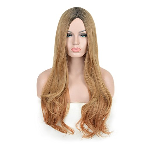 SiYi Long Wavy Wig Blonde Brown Ombre Curly Synthetic Wigs Heat Resistant Costume Pastel Full Wig for (Star Long Wavy Wig)