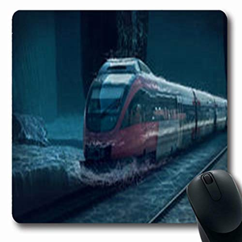 Pandarllin Mousepads Ocean Motions Train Underwater Caribbean Life Parks Outdoor Bright Oblong Shape 7.9 x 9.5 Inches Oblong Gaming Mouse Pad Non-Slip Rubber Mat