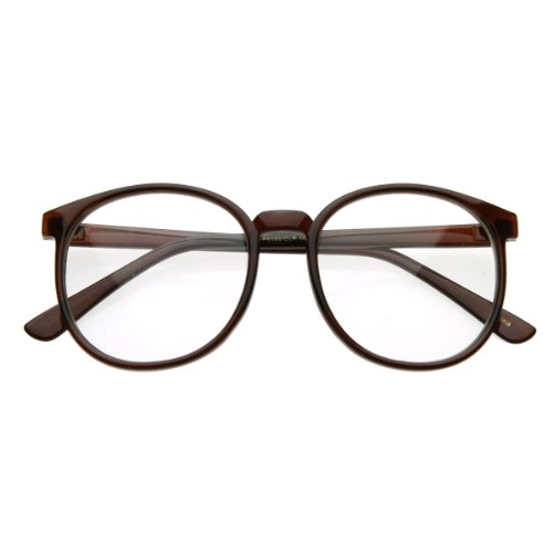 zeroUV - Vintage Inspired Round Circle Spectacles Clear Lens Horn Rimmed P-3 Glasses (Brown)