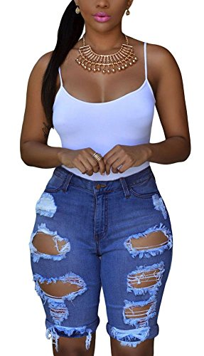 (roswear Women's Ripped Denim Mid Rise Stretchy Bermuda Shorts Jeans Denim Large)