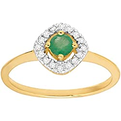 1/3 ct Natural Emerald Ring with Diamonds in 14K Gold