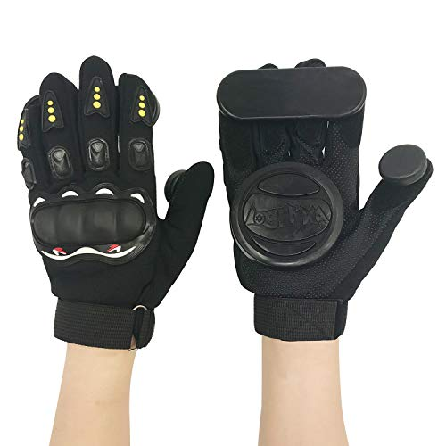 IMPORX Longboard Slide Gloves Downhill Standard Skate Gloves with 2 Slider Puck Set(Black)