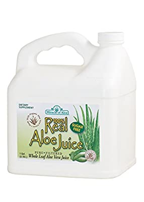Real Aloe 100% Pure Aloe Juice - Made From Organically Grown Aloe Vera Leaves 100% Purified & Filtered