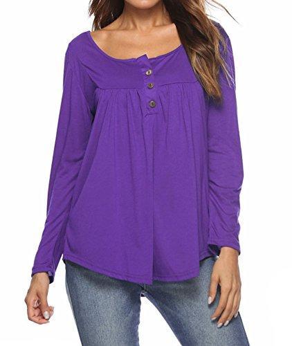 Printemps Manches Femmes Elgante Mode Shirt Tee Haut Automne Casual Tops Blouses Longues T Chemisiers Violet et Plier rEYqvzr
