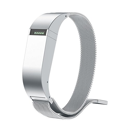 Price comparison product image Boofab Fitbit Flex Bands,  Magnetic Loop Stainless Steel Wrist Metal Mesh Replacement Accessory for Fitbit Flex Tracker (5.51-8.46inches) (Silver)