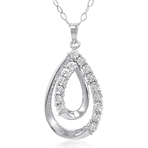 Sterling Silver Diamond Tear Drop Pendant-Necklace (1/10ct tw) ()