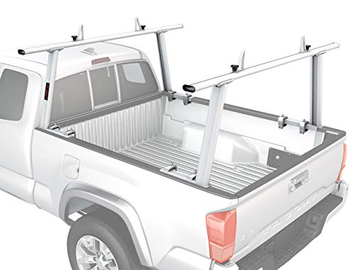 AA-Racks Model APX25 Extendable Aluminum Pick-Up Truck Ladder Rack (No drilling required) - Sandy White (Sliding Tracrac)