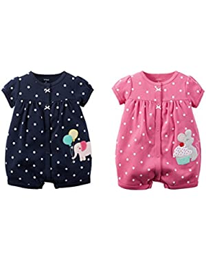 Baby Girls 2 Pack Polka Dot Soft Cotton Rompers