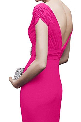 V Aermeln Ivydressing Partykleider Damen Ballkleid Festkleid Rueckenfrei Ausschnitt Abendkleider Weinrot Mit 6nX5pxnfr