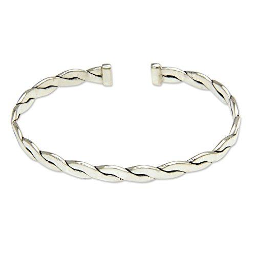 NOVICA Men's .925 Sterling Silver Cuff Bracelet 'Surging - Silver Bracelet Clean