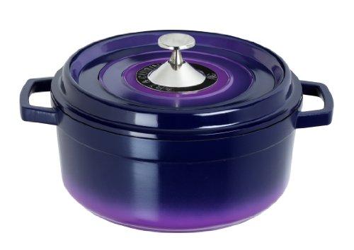 Art & Cuisine Cocotte Series Cast Aluminum Round Soup Pot, Purple, 7-1/4-Qt. For Sale