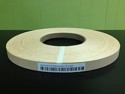 Edge Supply Douglas Fir 7/8″ X 250′ Roll, Wood Veneer Edge Banding Preglued, Iron on with Hot Melt Adhesive, Flexible Wood Tape Sanded to Perfection. Easy Application