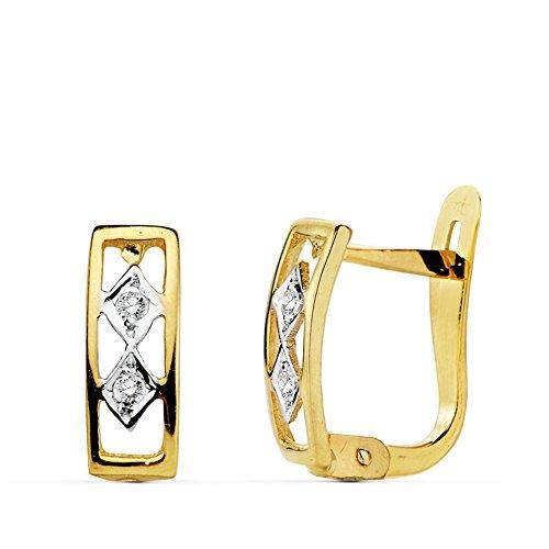 Boucled'oreille 18k 10mm bicolor d'or. zircons première communion [AB0727]