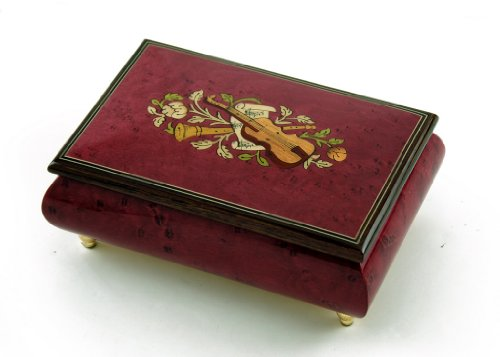 Astonishing Handcrafted 30 Note Red Wine Musical Instrument Theme Wood Inlay Music Box with 30 Note Tune-Auld Lang Syne