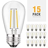 Kohree S14 2200K Led Bulb 2W Edison Light Bulbs for Outdoor String Light Replacement, Dimmable, E26, Bulb Glass to Replace 11w/15w/20w Incandescent Bulb, Weatherproof, 15Pack