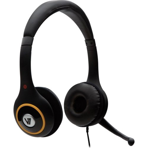 V7 Hu511-2Np Headset - Stereo - Black - Usb - Wired - 32 Ohm - 20 Hz - 20 Khz - Over-The-Head - Binaural - Ear-Cup - 5.91 Ft Cable - Noise Cancelling Microphone