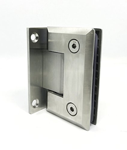 Glass Door Hinge/Shower Door Hinge - Beveled Detailed Edges - Self Closing Mechanism-for 3/8 & 1/2 Glass - 304 Stainless Steel-180 Degree Opening - Full Back Plate - (Single) (Brushed Nickel)