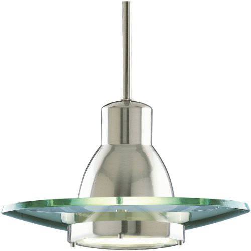 Mini Clear Glass Pendant - Progress Lighting P5003-09 1-Light Stem-Hung Mini-Pendant with Clear and Etched Glass Diffuser, Brushed Nickel