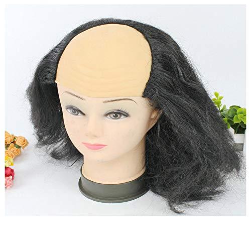 Yiwanjia A grey latex bald Wig cap with attached grey hair short messy wig bald wig funny Masquerade supplies wig (BK)