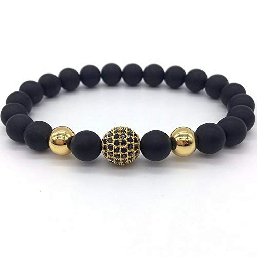 Hebel Fashion Lava Stone Beads and Black CZ Ball Men Charm Bracelets Gift | Model BRCLT - 32108 |