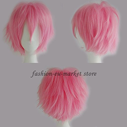 Synthetic Short Straight Fluffy Full Wig Oblique Fringe for Anime Cosplay Costume Party for Men / Women -- 20 Light/Deep Colors (dark pink) - Fai Tsubasa Cosplay Costume