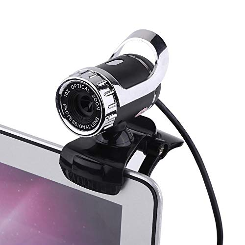 HD Webcam 12M Pixels, Clip-on Computer Cameras with Microphone, USB 2.0 Web Cam Camera for Video Chat, Compatible with Windows XP / Win2003 / Win7 / Win8 / Vista 32bit(Sliver)