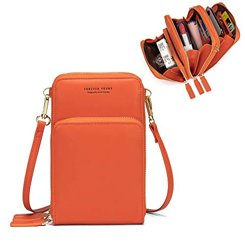 Small Leather Crossbody Cell Phone Shoulder Bag for Women, Smartphone Wallet Purse with Removable Shoulder Strip for Shopping (Orange)