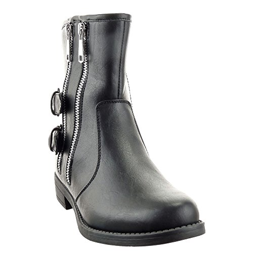 Sopily - Zapatillas de Moda Botines Botas militares Low boots Media pierna mujer Hebilla Cremallera Talón Tacón ancho 3 CM - plantilla textil - Negro