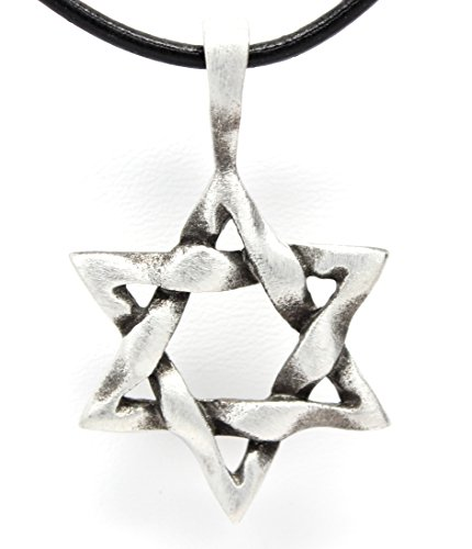 Pewter Star of David Woven Pendant on Leather Necklace (Woven Pewter Leather)