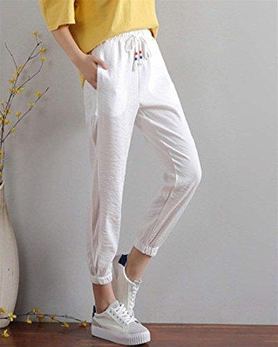 Unique Bianca Classiche Lunghe Sottile Streetwear Pants Moda Casual Donne Colori Pantaloni Donna Solidi Con Baggy Pantaloni Waist Elegante Comodo Coulisse High qc6RgC