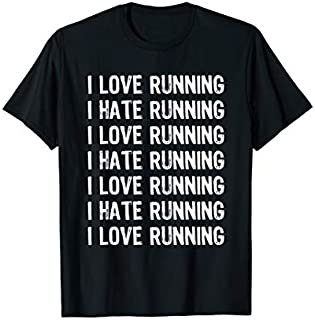 ⭐️⭐️⭐️ I Love Running I Hate Running Need Funny Short/Long Sleeve Shirt/Hoodie