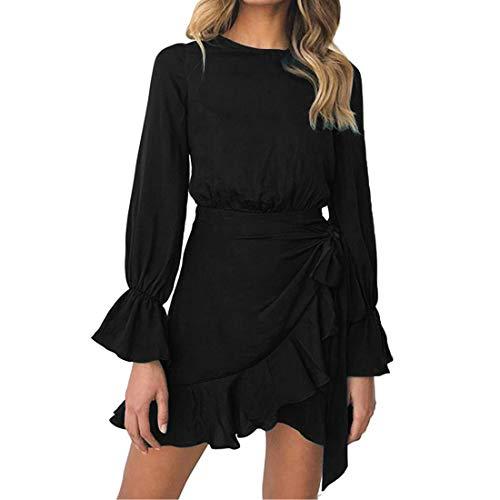 WEEPINLEE Womens Long Sleeve Round Neck Ruffles Wrap Dresses Party Dress (Black,XL)