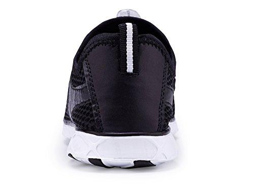KALEIDO Herren Mesh Slip On Schnell Trocknende Wasser Schuhe F-schwarz