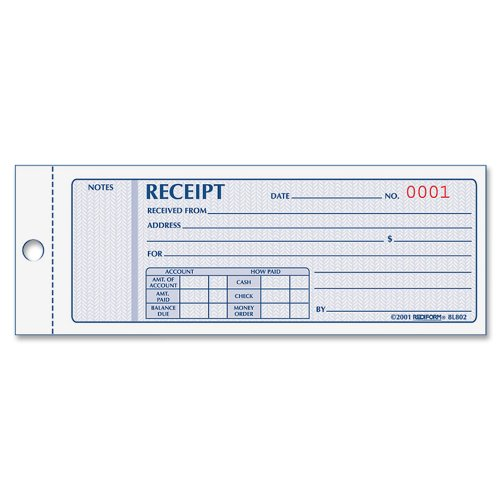 Rediform Money Receipt Book, 2.75 x 7.625 Inches, 100 Pages (8L800) REDIFORM OFFICE PRODUCTS