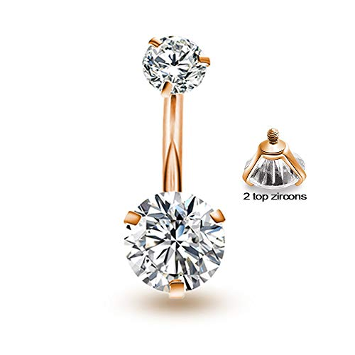 Button Round Gold (Gnoliew Belly Button Rings Round Cubic Zirconia Navel Barbell Stud Body Piercing)