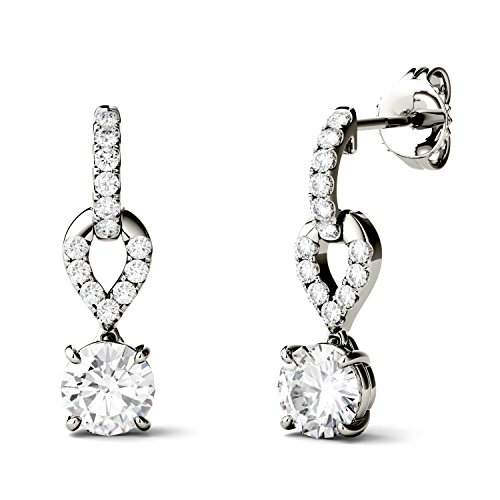 (Forever Brilliant 5.0mm Round Moissanite Drop Earrings, 1.26cttw DEW by Charles & Colvard)