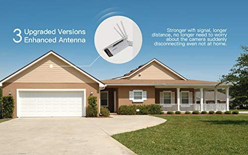 【2020 Upgrated】 Wireless Outdoor Security Camera, WiFi 1080P Solar Security Camera 10400mAh Rechargeable Battery, PIR Motion Detection, Night Vision, 2-Way Audio, 3 Antenna, IP67 Waterproof, Cloud SD 41QtXah52aL