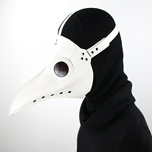 GEARDUKE Plague Doctor Bird Mask Long Nose Beak Cosplay Steampunk Halloween Costume Props (White) -