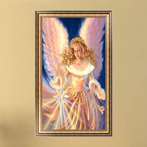 Bottone DIY 5D Diamond Painting Pictures Kit Rhinestone Pasted Embroidery Crystals Cross Stitch Arts Craft Supply Handcrafted Gift for Christmas Home Wall Decor,Angel Girl