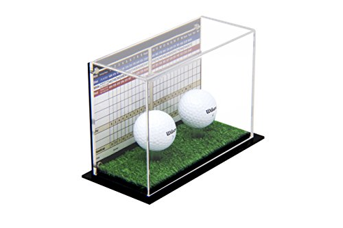 Deluxe Clear Acrylic Double Golf Ball Display Case with Black Back and Turf Floor (A045A-TB)