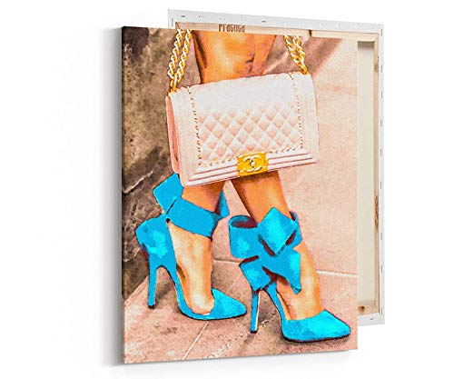 (Fashion Glam Wall Art Print on Canvas Designer Shoes Bag)
