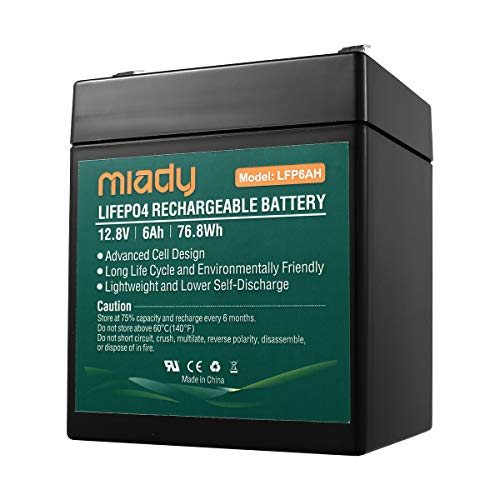 2000 Cycles Miady Lithium Iron Phosphate Battery 12V 6Ah, Rechargeable LiFePo4 Battery, Low Self-discharge and Light Weight, Fios Replacement - Lifepo4 Pack