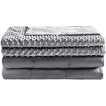 Anjee 15 lbs Weighted Blanket with Removable Cover for Kids/Adults, 48 x 72 Inch Suitable for Twin Size Bed, Heavy Blanket with Premium Glass Beads, Cotton/Minky, Grey,